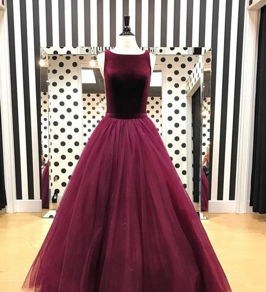 A Line Burgundy Velvet Prom Dresses Formal Velvet Evening Dresses