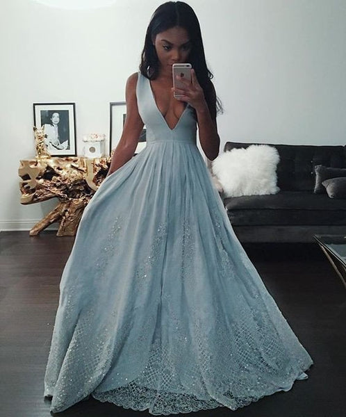 Deep V Neckline Blue Prom Dresses Evening Dresses Lace Bottom