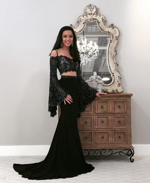 a4f9a046d0 Long Sleeve Lace Top Black Long Sleeve Prom Dresses Evening Dresses