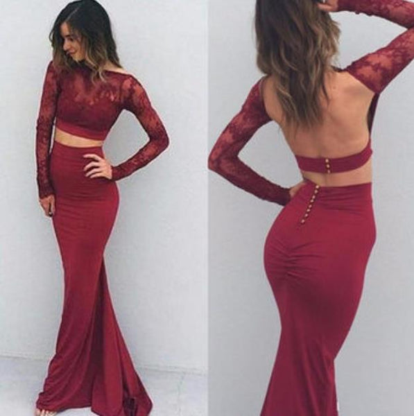 Long Sleeve Burgundy Lace Top Jersey Prom Dresses Evening Dresses