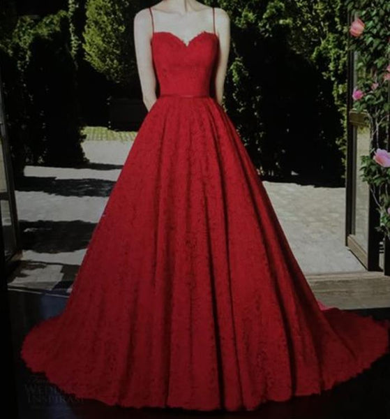 A Line Red Lace Sweetheart Spaghetti Straps Prom Dresses Evening Dresses
