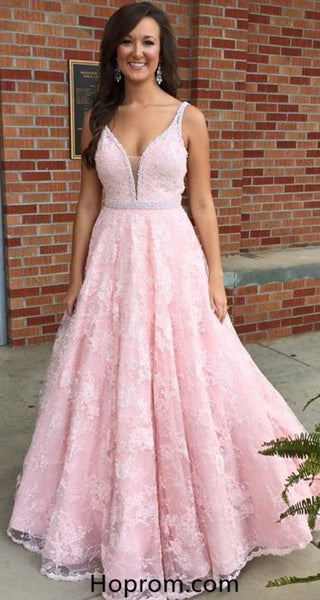 A Line Baby Pink Prom Dresses Lace and Beading Prom Dress