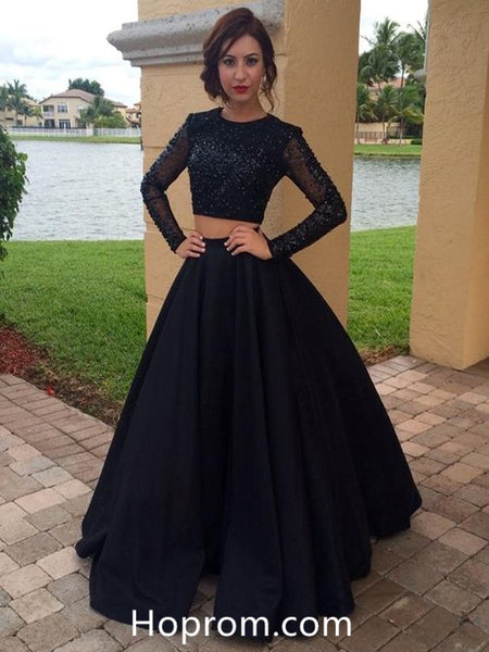 be51d42a6b Long Sleeves Black Beading Prom Dress Two Pieces Vintage Prom Dress
