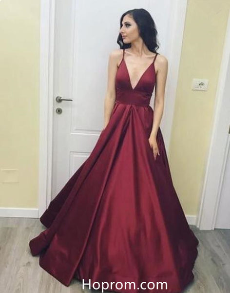 3011f724f219 Burgundy Red Long V Neck Red Prom Gowns Dresses Evening Dress