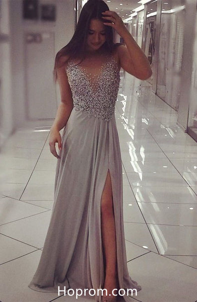 Beading Top Sexy Prom Dresses Slit Grey Evening Gown Dresses
