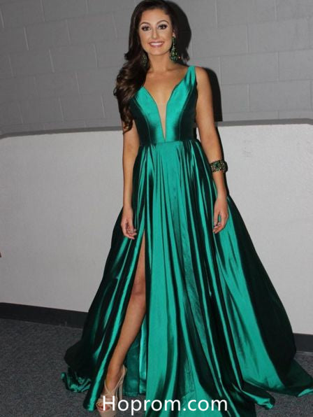 36c11d787c A Line Green V Neckline Prom Dresses Slit Evening Formal Dresses