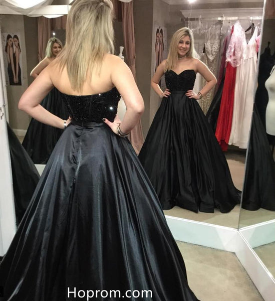 A Line Black Sweetherat Prom Dresses Beading Top Evening Dress Lace up Back