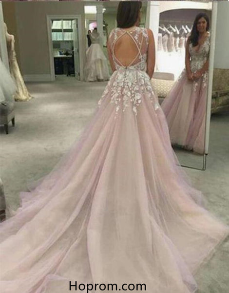 A line Sexy Open Back Blush V-neckline Lace Prom Dresses Applique Evening Dresses