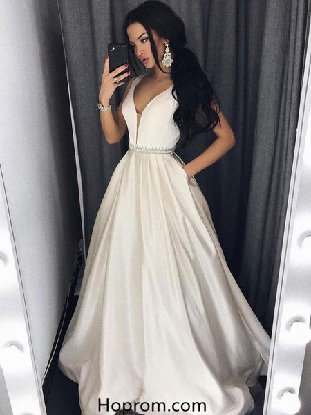 A Line V-Neck Court Train Ivory Satin White Prom Dress Evening Prom Dress