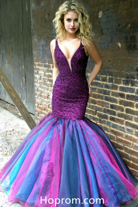 Mermaid Prom Dress Purple Evening Ombre Gowns Dresses – Hoprom
