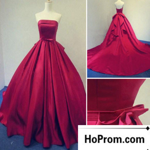 Red Satin Sweetheart A-Line Prom Dresses Evening Dress