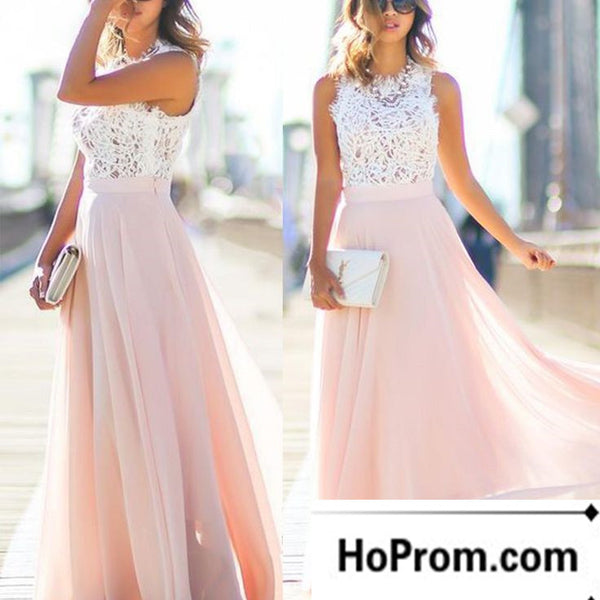 Lace Chiffon White And Pink Prom Dresses Evening Dress