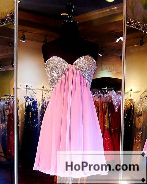 A-Line Pink Sequins Short Prom Dresses Homecoming Dresses