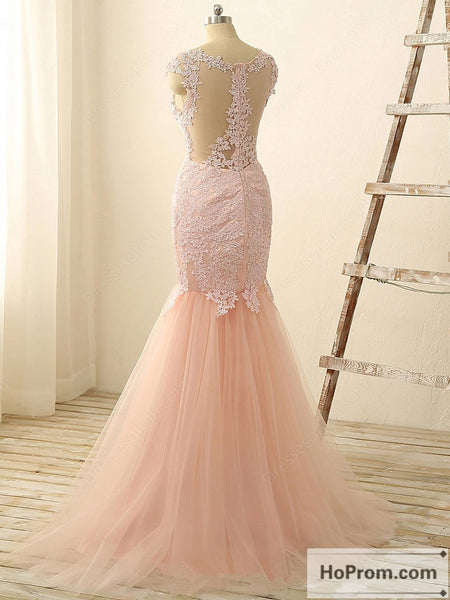 Applique Mermaid Cap Sleeve Prom Dress Evening Dresses