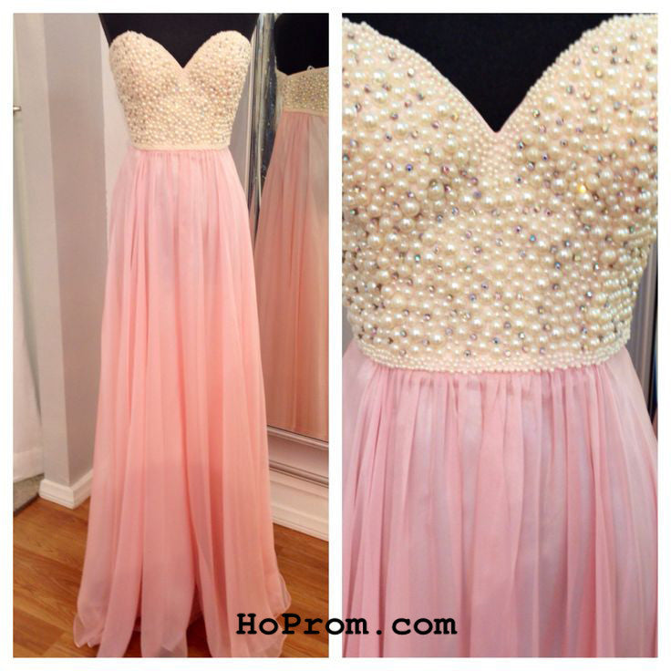 Pearls Prom Dresses Pink Pearl Chiffon Prom Dress Pink Evening Dress