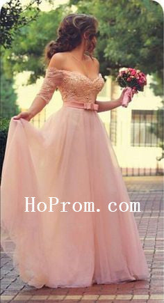 Pink Half SLeeve Prom Dresses,Long Prom Dress,Evening Dress