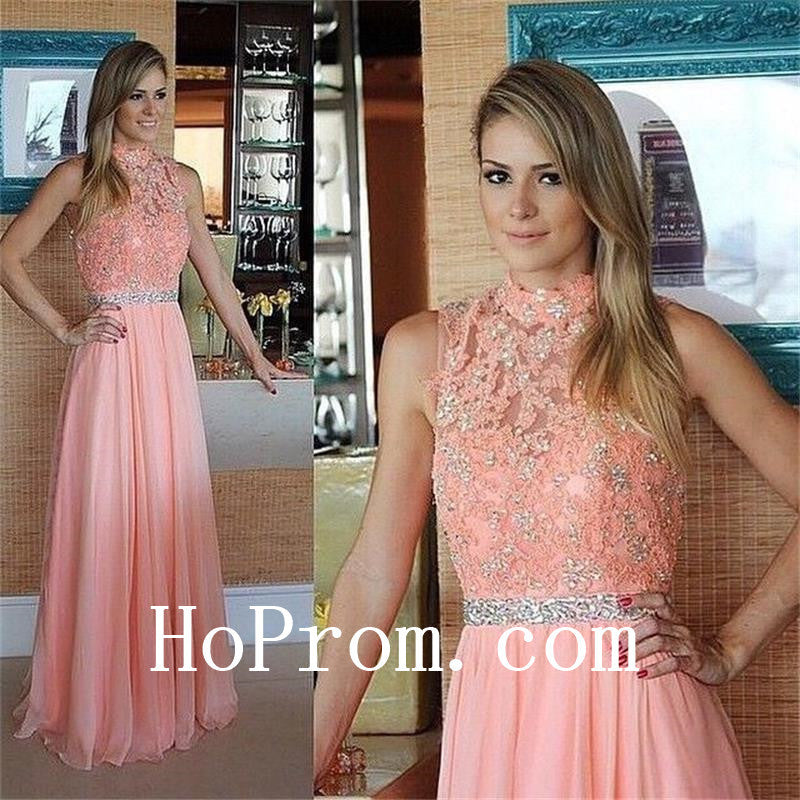 Long Prom Dresses,High Neck Prom Dress,Evening Dress