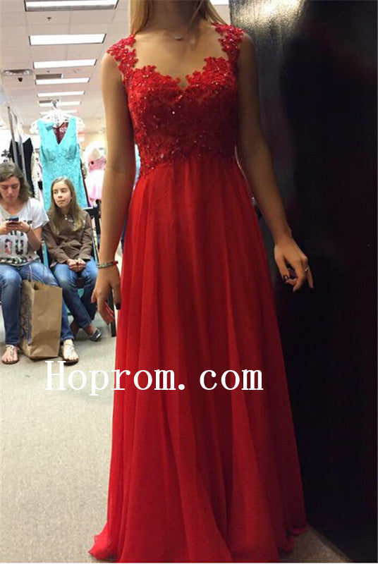 Red Applique Prom Dresses,Backless Prom Dress,Evening Dress