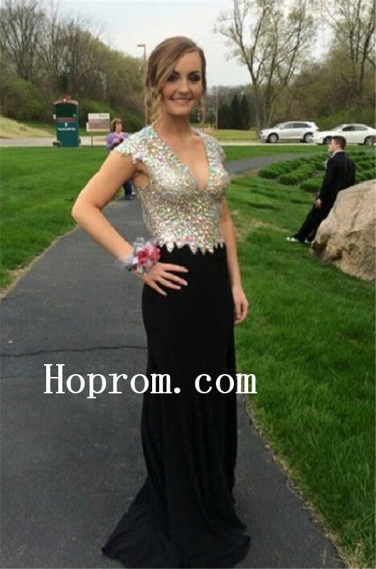 Cap Sleeve Prom Dresses,V-Neck Prom Dress,Evening Dress