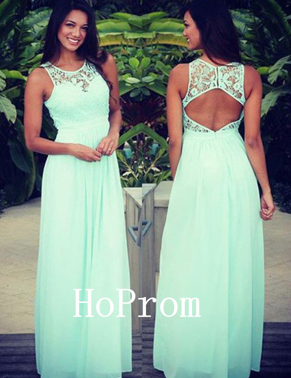 Mint Green Prom Dresses,Chiffon Prom Dress,Evening Dress