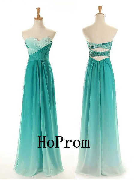 Simle Chiffon Prom Dresses,Strapless Prom Dress,Evening Dress