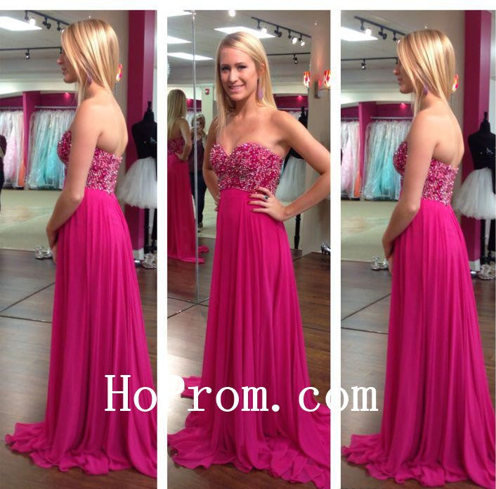 Long Prom Dresses,Hot Pink Prom Dress,Evening Dress