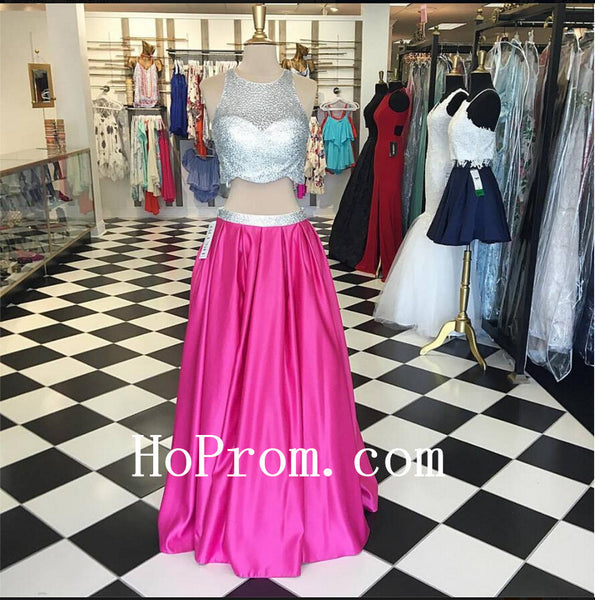 Silver Beaded Prom Dresses,Two Piece Prom Dress,Evening Dress