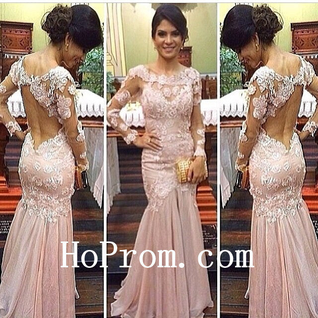Flower Pink Prom Dresses,Long Prom Dress,Evening Dress