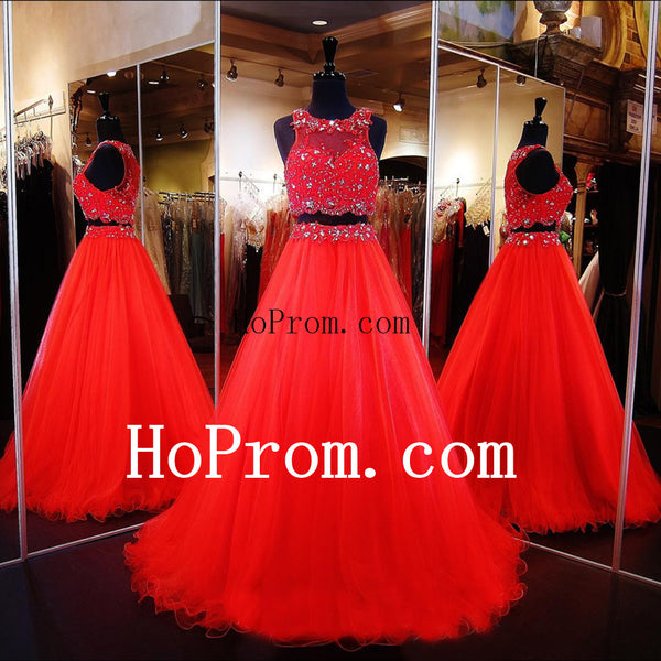 Red High Neck Prom Dresses,Two Piece Prom Dress,Evening Dress