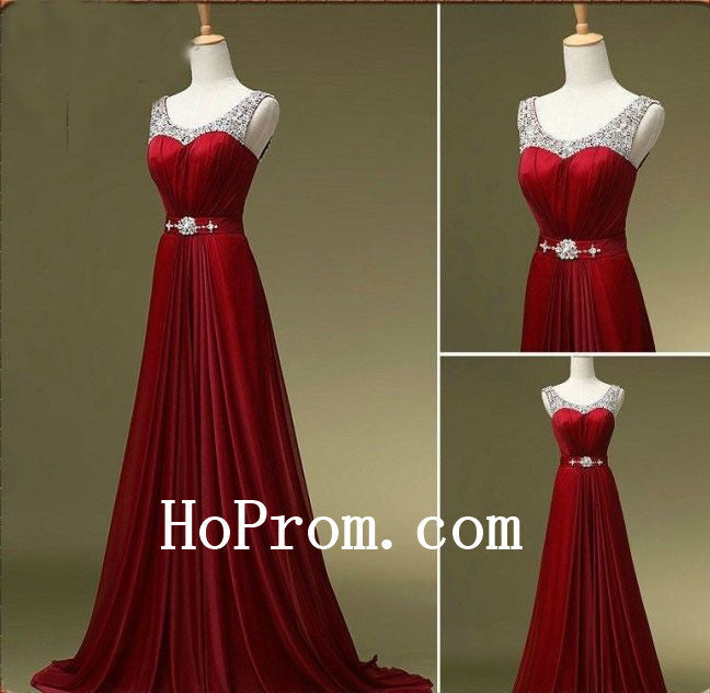 O-Neck Red Prom Dresses,Sleeveless Prom Dress,Evening Dress