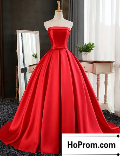 A-Line Satin Strapless Simple Prom Dress Evening Dresses