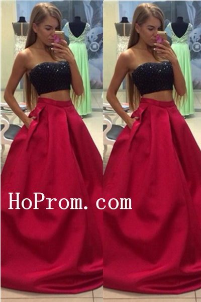 Two Piece Prom Dresses,Long Prom Dress,Evening Dress