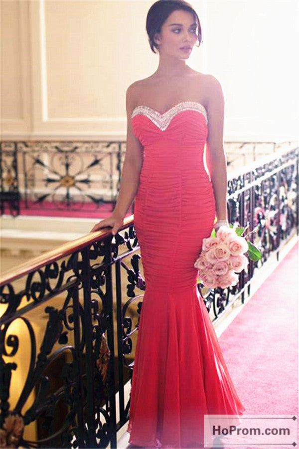 Red Sweetheart Mermaid Long Prom Dress Evening Dresses