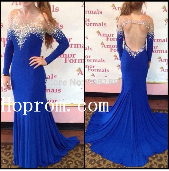 Royal Blue Prom Dresses,Backless Prom Dress,Evening Dress