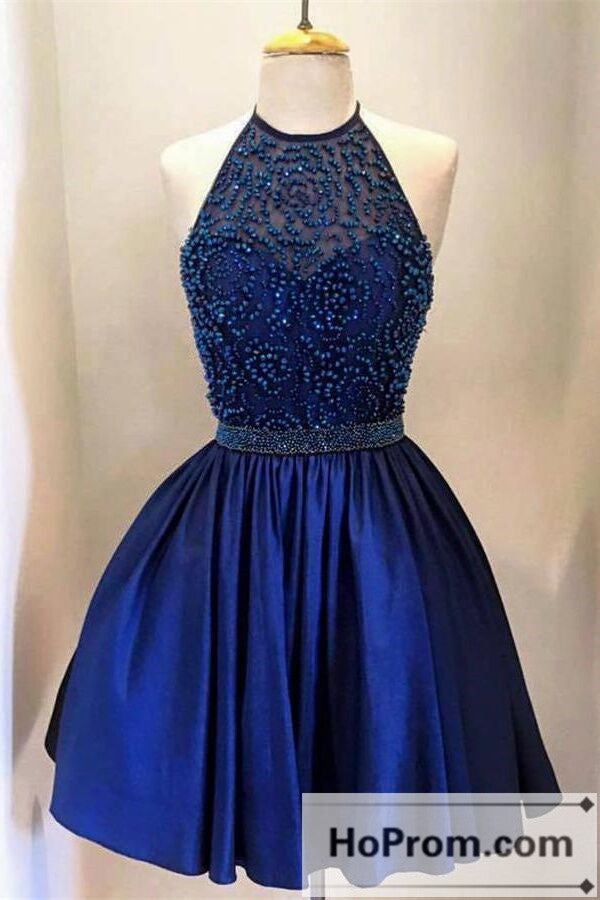 Royal Blue Halter A-Line Prom Dresses Homecoming Dresses