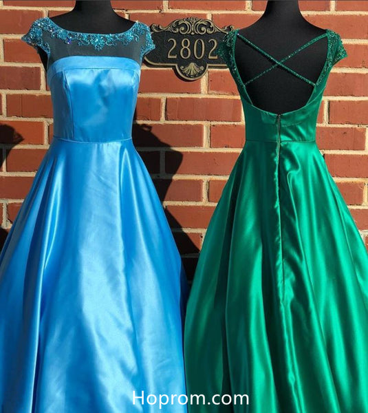 A Line Tulle Appique Top Prom Dresses Evening Dresses