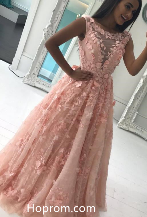 ba7ddf918c A Line 3D Flowers Prom Dresses 2018 V Neckline Evening Dress Sale – Hoprom