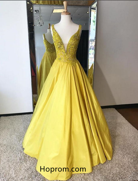 A Line Yellow Prom Dresses 2018 Deep V Neckline Beaded Evening Dresses