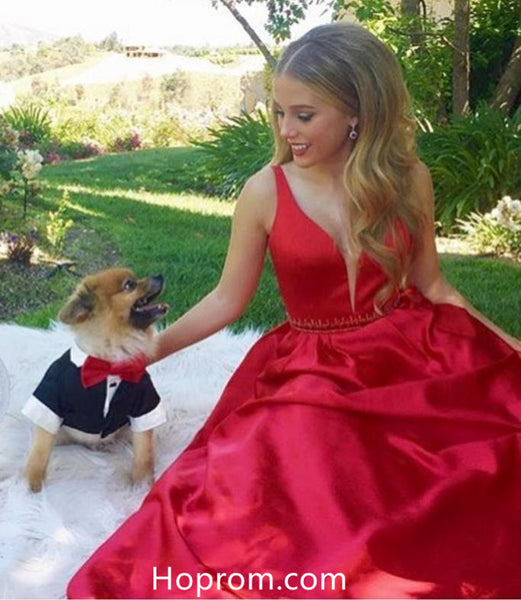 A Line Red Beaded Waist Prom Dresses 2018 Evening Dresses Onine