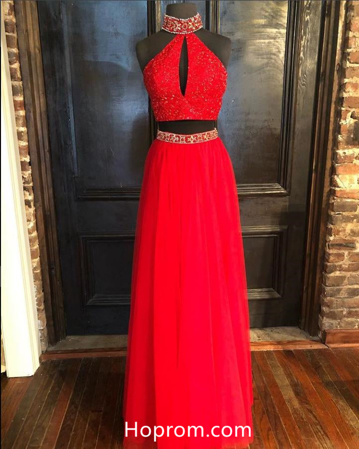 6980a3b9116 Halter Two Pieces Red Prom Dresses 2018 Beaded Evening Dresses – Hoprom