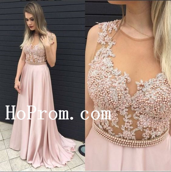 Pearls Prom Dresses,Long Prom Dress,Pink Evening Dresses