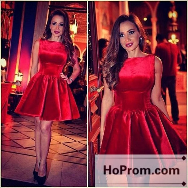 A-Line Red Satin Simple Prom Dresses Homecoming Dresses
