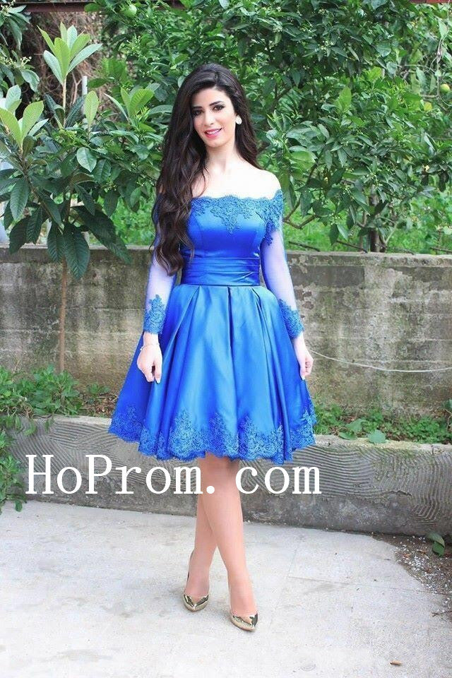 Short Blue Prom Dresses,Long Sleeve Prom Dress,Evening Dress