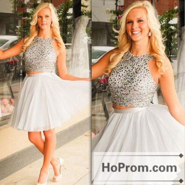 Short Illusion Back Silver  Prom Dresses Homecoming Dresses