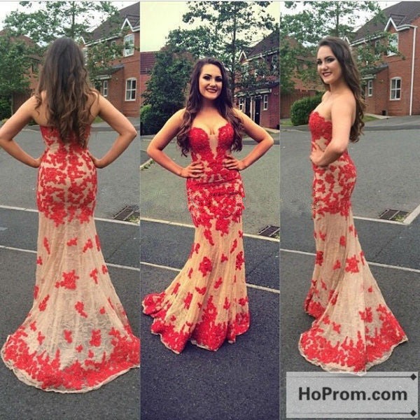 Red Applique Sweetheart Mermaid Prom Dress Evening Dresses
