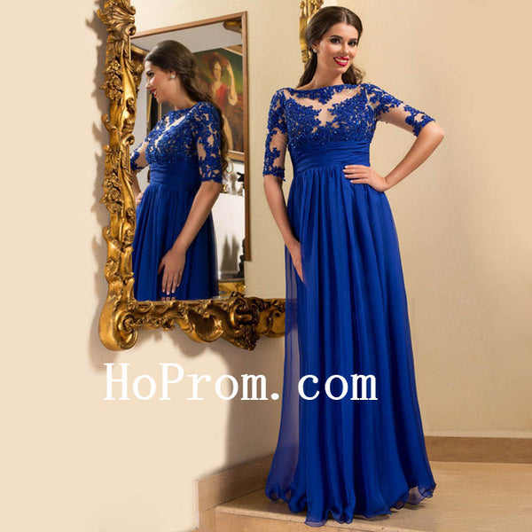 Blue Chiffon Prom Dresses,A-Line Prom Dress,Evening Dress