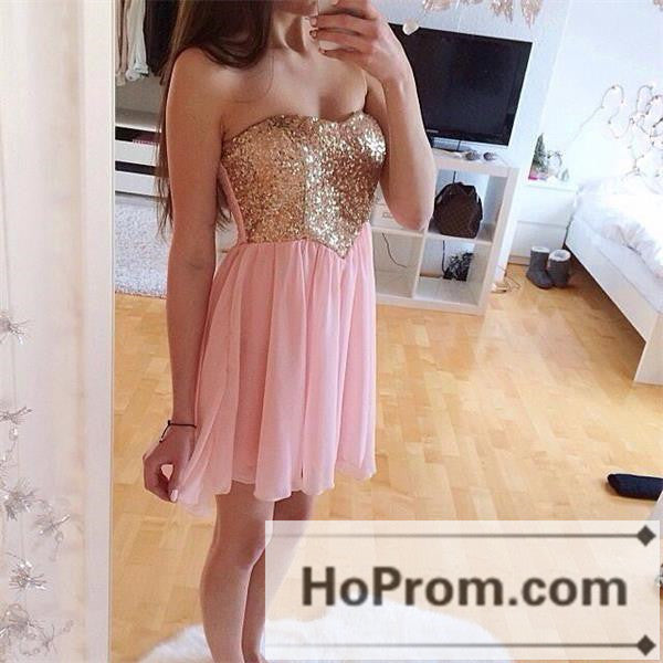 Strapless Sequin A-Line Short Prom Dresses Homecoming Dresses