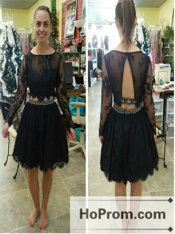Long Sleeve A-Line Black Lace Prom Dresses Homecoming Dresses