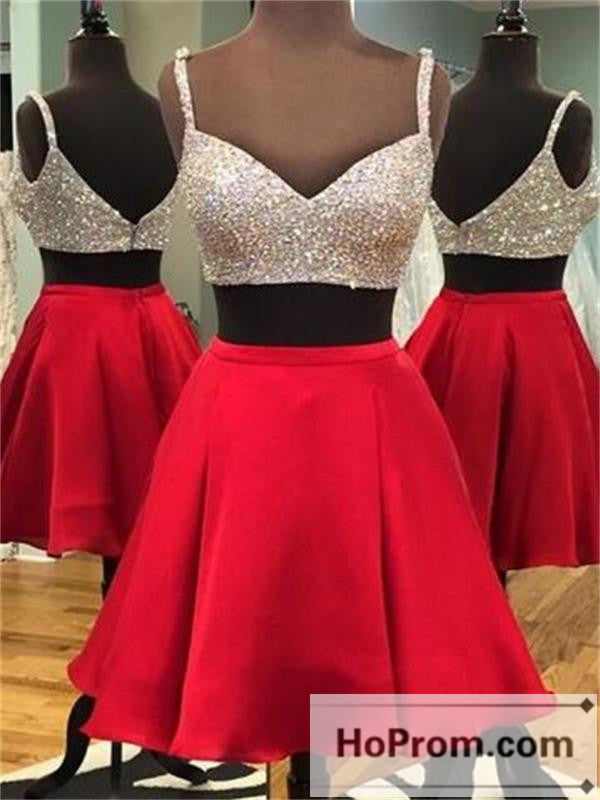 Spaghetti Straps Red A-Line Prom Dresses Homecoming Dresses