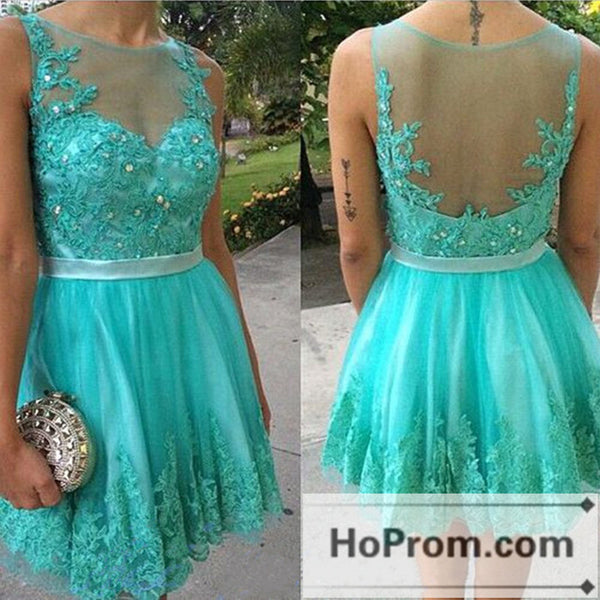 A-Line Sleeveless Lace Short Prom Dresses Homecoming Dresses
